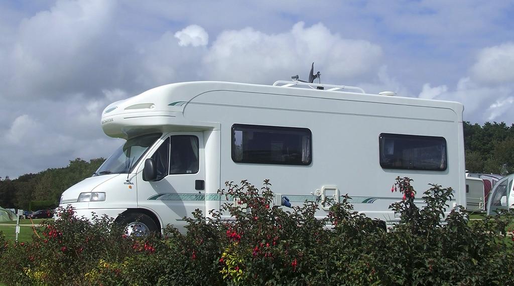 Touring caravan at Hendra