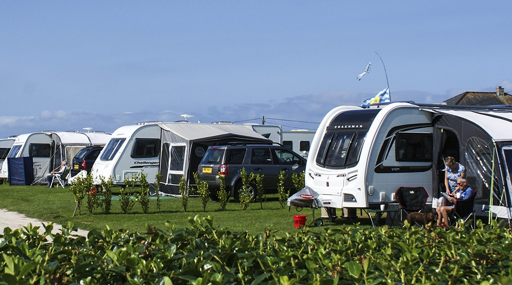Touring Caravan pitches at Hendra in Newquay Cornwall