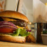 Burger and fries at Hendra
