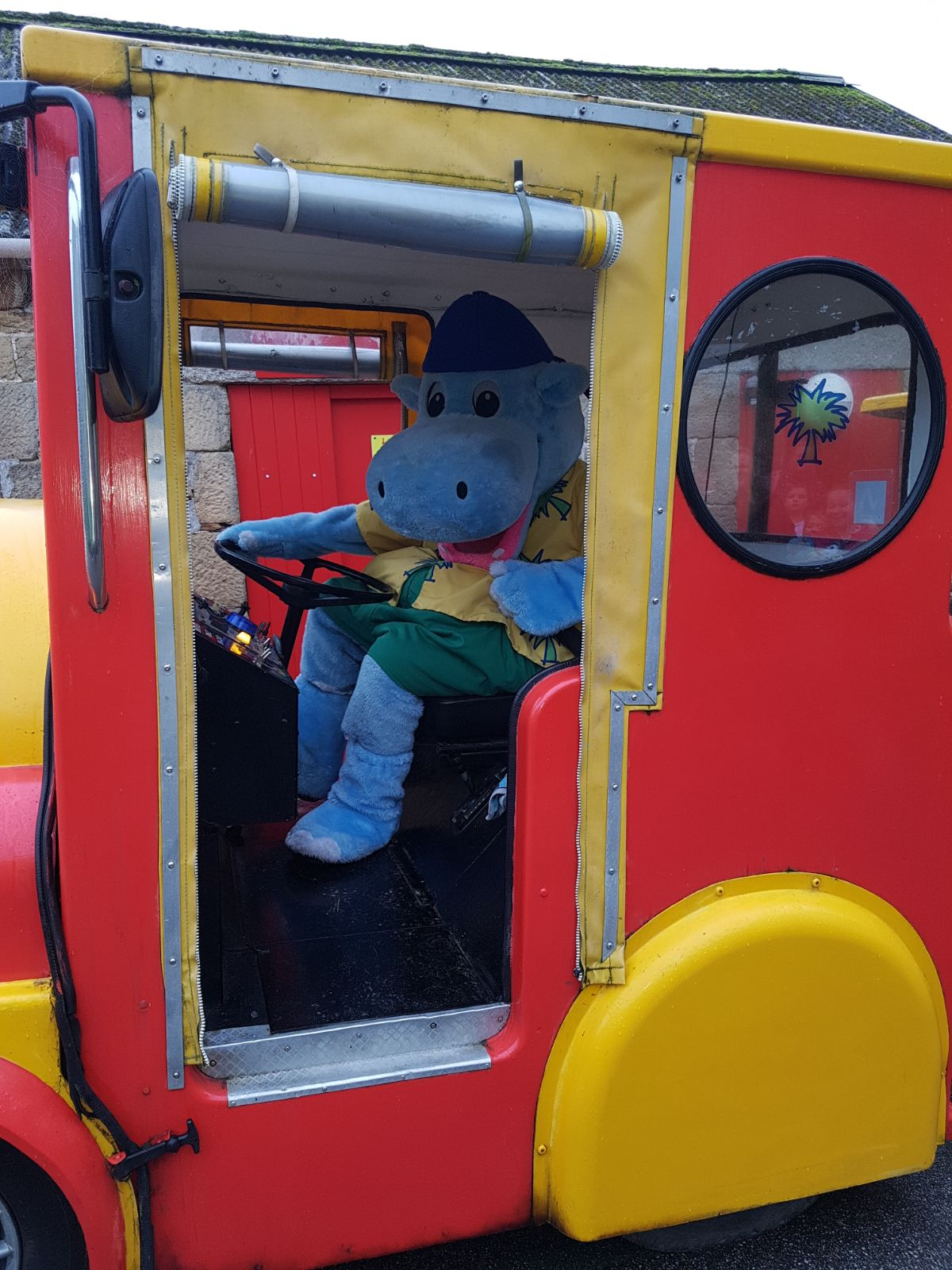 Henry driving the train.
