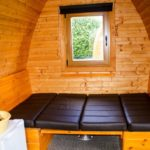 Double bed in the Pod Premium, Hendra Holiday Park