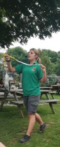 The Kookaburra gets the snake at Paradise Park