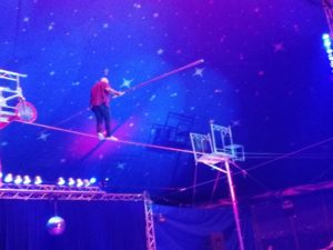 Tightrope at the circus, Neewquay