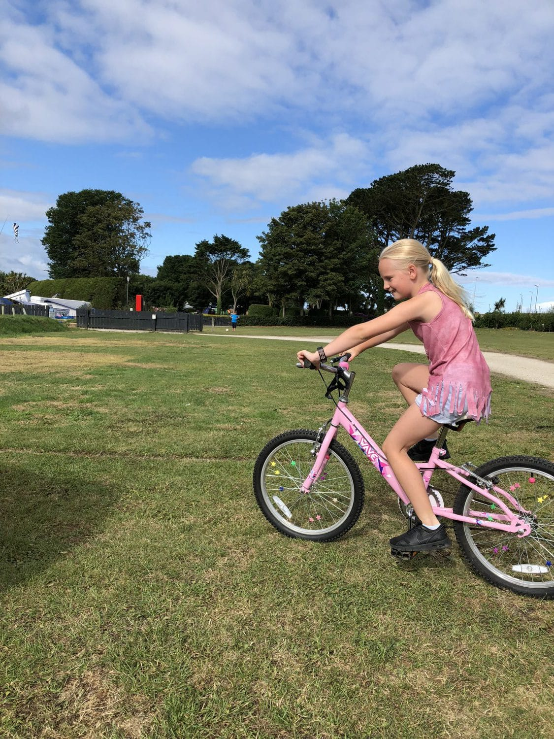 Cycling on the park at Hendra
